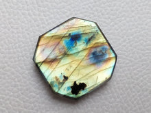 Load image into Gallery viewer, 2 Shaded  Labradorite Cabochon Gemstone 29x28x7mm, Freeform Shape