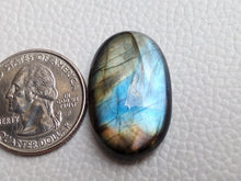 Load image into Gallery viewer, Multi  Labradorite Cabochon Gemstone 29x18x7mm, Oval Shape