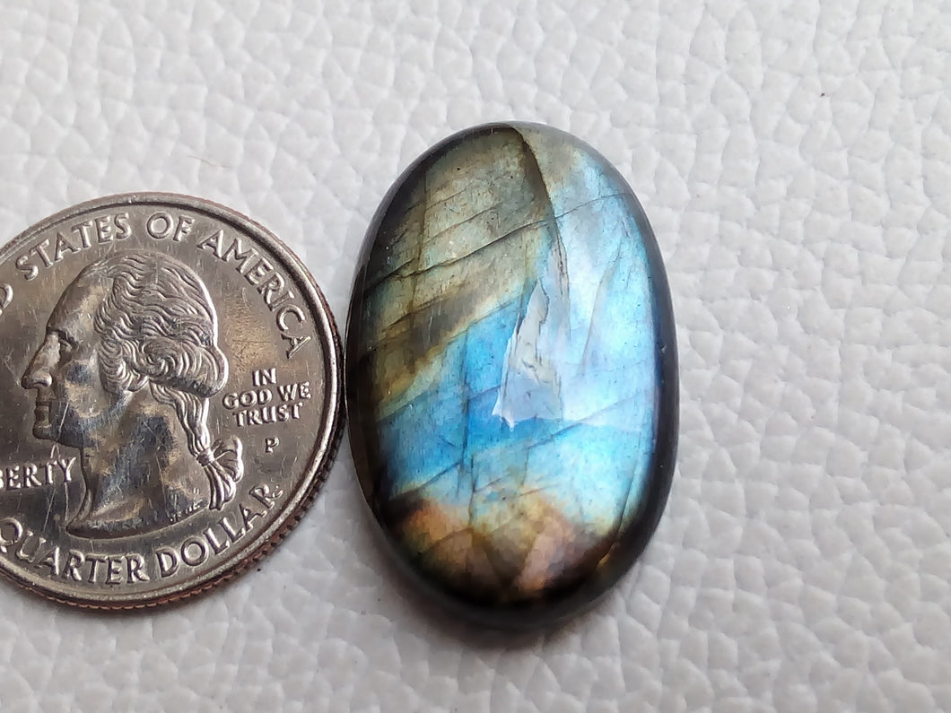 Multi  Labradorite Cabochon Gemstone 29x18x7mm, Oval Shape