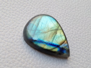 Natural  Labradorite Cabochon Gemstone 31x23x7mm, teardrop Shape