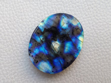 Load image into Gallery viewer, multi Blue Labradorite Cabochon Gemstone 34x27x7mm, Oval Shape