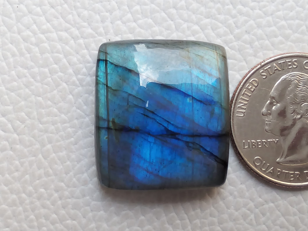 Blue  Labradorite Cabochon Gemstone 26x23x8mm, Rectangular Shape