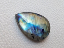 Load image into Gallery viewer, multi Blue Labradorite Cabochon Gemstone 31x21x8mm, teardrop Shape