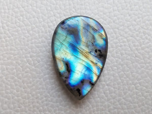 multi Blue Labradorite Cabochon Gemstone 31x21x8mm, teardrop Shape