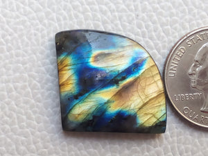 statuesque Multi Labradorite Cabochon  26x33x6mm Healing Gemstone Freeform Shape