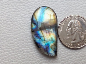 Flashy Multi Labradorite  35x19x6mm Healing Gemstone Freeform Shape