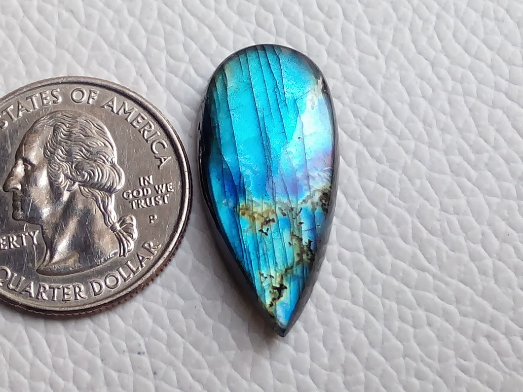 glorious Blue Labradorite Gemstone 29x14x6mm Healing Gemstone teardrop Shape
