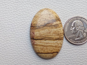 42x28x5 mm Picture Jasper Oval Shape