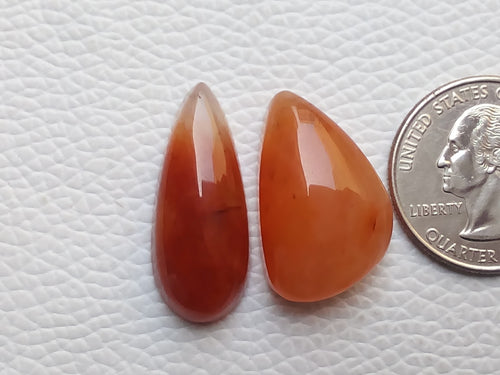 2 Pcs Orange Aventurine Mix Shape