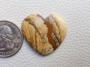 30x27x4 mm Picture Jasper Heart Shape