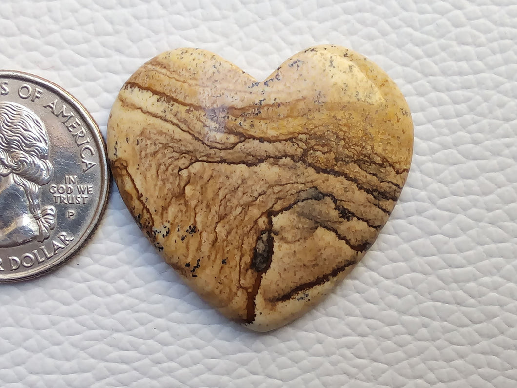35x33x5 mm Picture Jasper Heart Shape