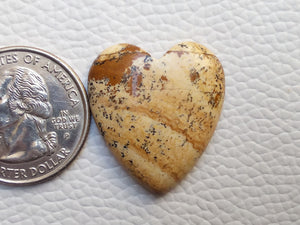 27x24x5 mm Picture Jasper Heart Shape