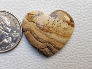 30x27x5 mm Picture Jasper Heart Shape
