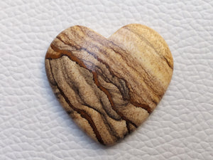 34x32x5 mm Picture Jasper Heart Shape