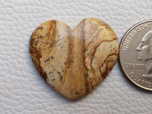 29x26x5 mm Picture Jasper Heart Shape