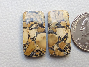 27x14x4 mm Brecciated Mookaite Pair Rectangular Shape