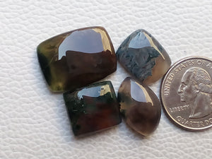 4 Pieces Natural Moss Agate Mix Shape