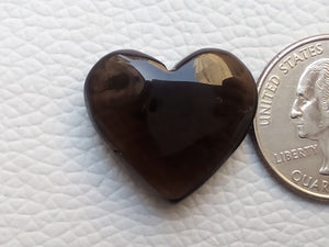 24x22x9 mm  Natural Smoky Quartz Briolette Heart Shape