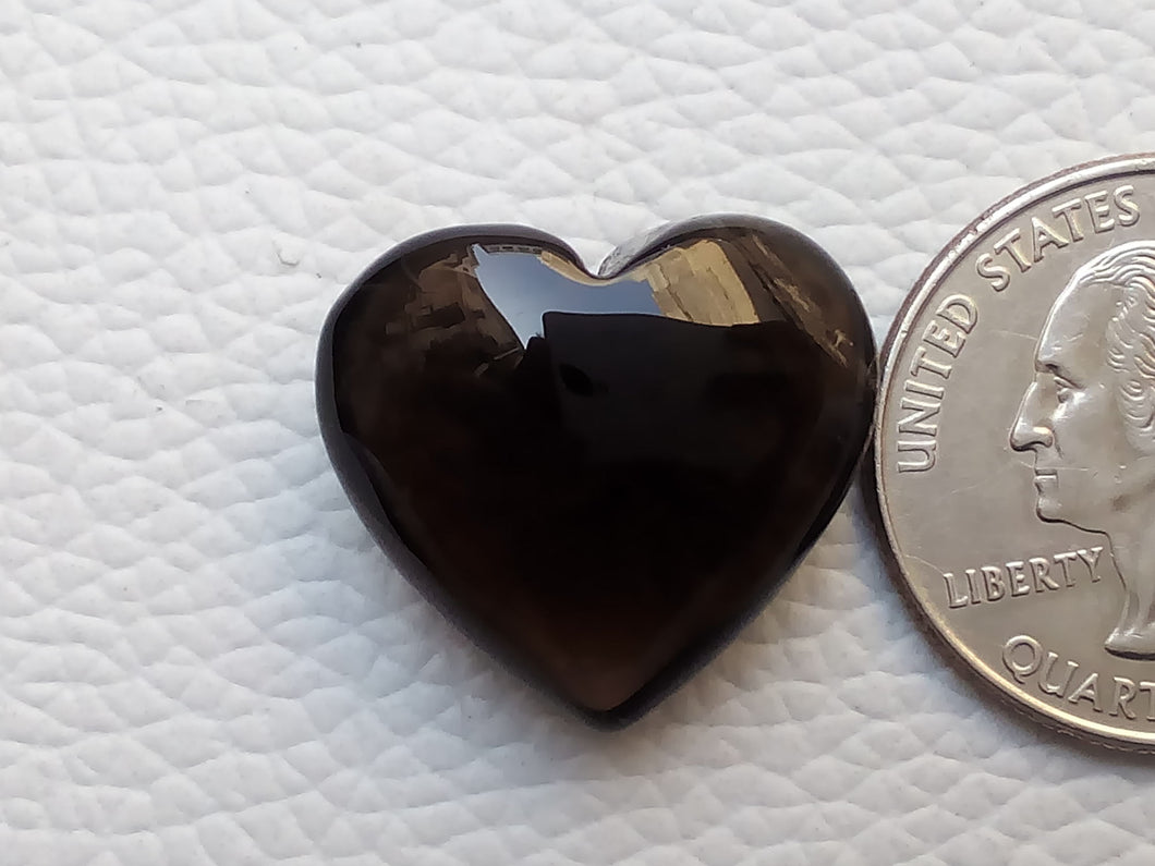 22x20x10 mm  Natural Smoky Quartz Briolette Heart Shape