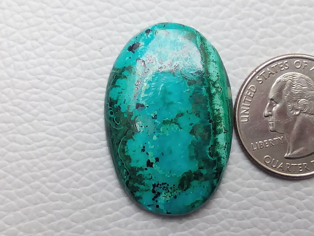 37x25x5 mm Chrysocolla Malachite Oval Shape