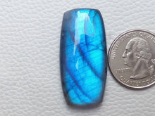 Load image into Gallery viewer, 39x19x8mm, Flashy Blue Labradorite Gemstone Cabochon Rectangular Shape