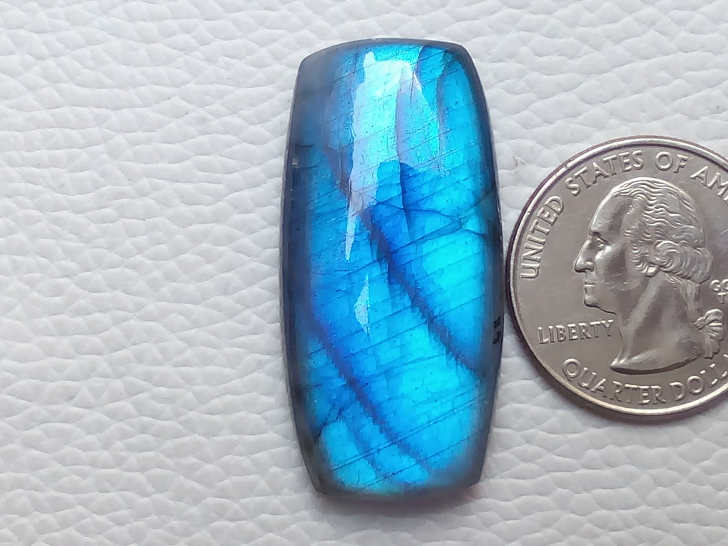 39x19x8mm, Flashy Blue Labradorite Gemstone Cabochon Rectangular Shape