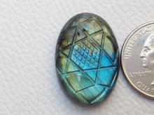 Load image into Gallery viewer, 29x20x7mm,   Carved Labradorite Gemstone Cabochon Oval Shape