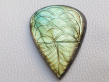 Load image into Gallery viewer, 45x35x8mm,   Carved Labradorite Gemstone Cabochon teardrop Shape