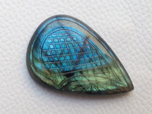 Load image into Gallery viewer, 42x28x7mm,   Carved Labradorite Gemstone Cabochon teardrop Shape