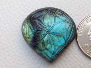 46x27x7mm,   Labradorite Gemstone Cabochon teardrop Shape
