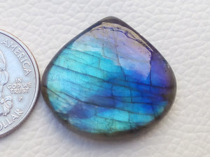 29x27x6mm,  Blue Labradorite Gemstone Cabochon  Pear Shape