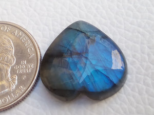 21x20x6mm,  Blue Labradorite Gemstone Cabochon Heart Shape