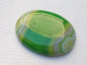 39x30x6 mm Green Banded Onyx Oval Shape
