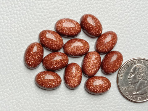 6 Pair  Goldstone Synthetic Oval Shape