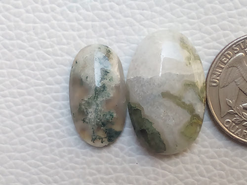 2 Pcs Natural Moss Agate Oval Shape
