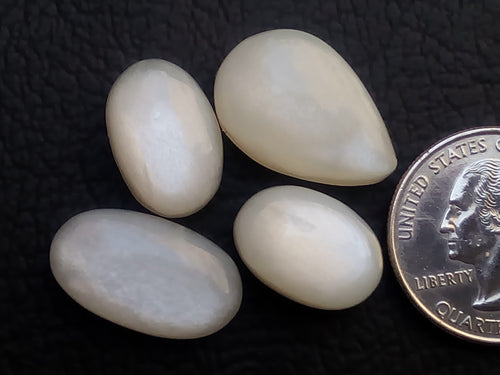 4 Pcs Natural White Moonstone Mix Shape