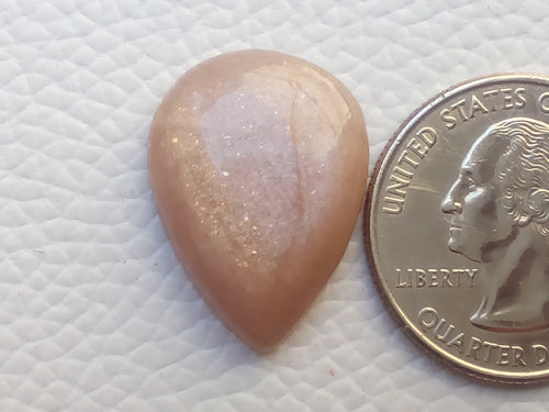 23x17x6mm Natural Peach Moonstone Teardrop Shape