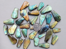 Load image into Gallery viewer, Coffin Shape Labradorite Cabochon Lot
