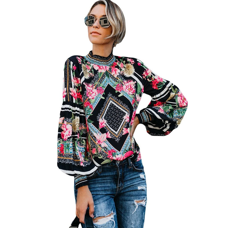 2019 Women Vintage Blouse Summer Shirts Turtleneck Long sleeve Wild Shirt Female Bohemia Grapic Woman Tops SP484