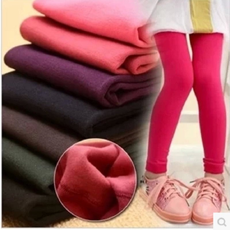 HEFLASHOR Winter Girls Leggings Winter Warm Plus Velvet Jeggins Bottom Trousers Candy Color Children Pant 3T-12T Kids Legging