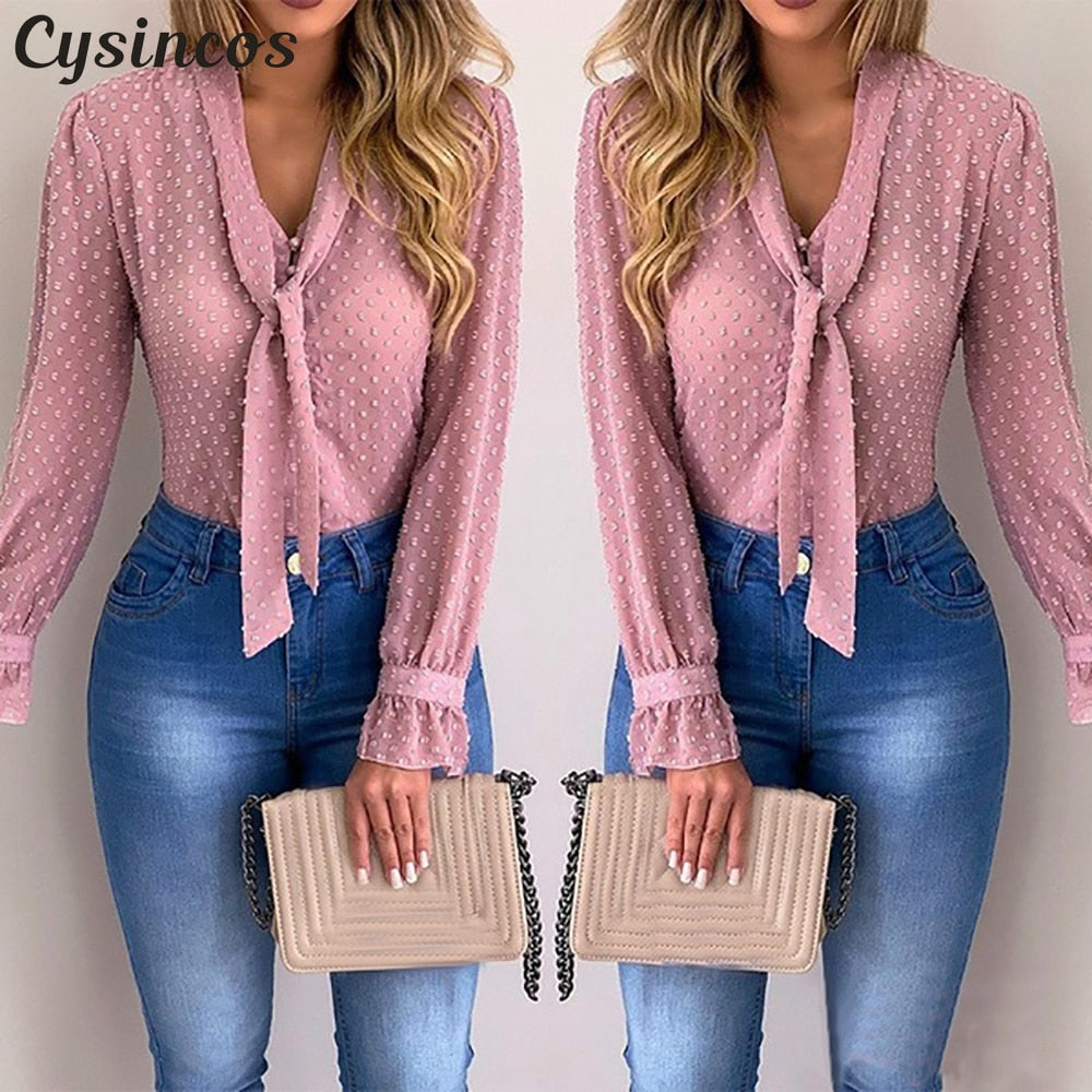 Cysincos Chiffon Blouses Women 2019 Autumn Fashion Long Sleeve V-neck Pink Shirt Office Blouse Slim Casual Tops Female Plus Size