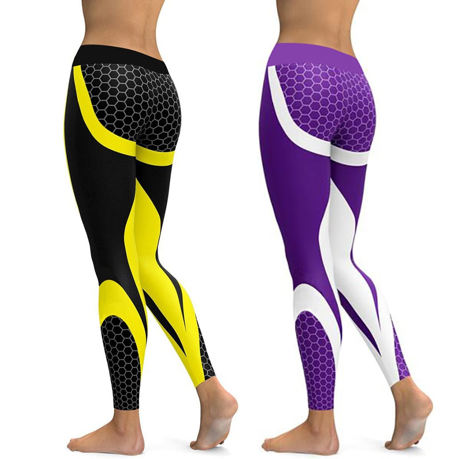 Honeycomb Carbon Leggings Women Fitness Wear Workout Sports Running Leggings Push Up Gym Elastic Slim Pants