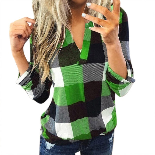 Women Casual Plaid Blouse Long Sleeve V Neck Sexy Shirt Womens Loose Fashion Jacket Shirt Top 2019 Autumn Winter Women Tops