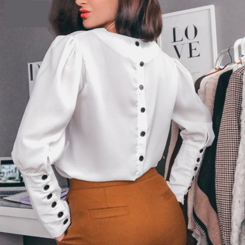 Women Back Button v Neck Casual Blouse Fashion Long Sleeve White Tops And Blouse Women Elegant Office Shirts