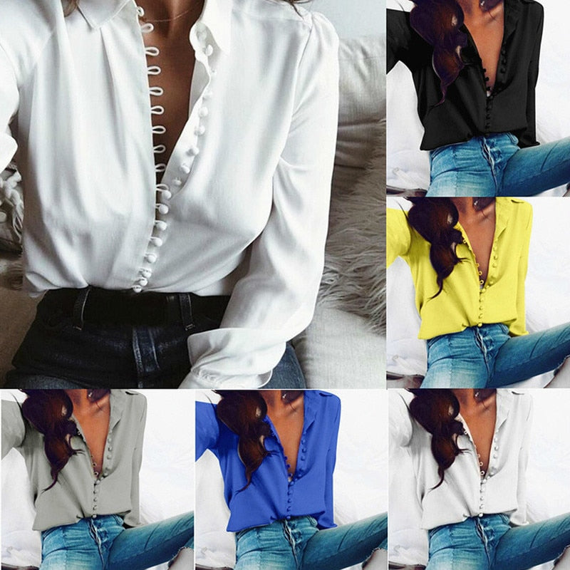 S-XXL Women's Fashion Casual Solid Color Long-sleeved Shirt Women Europe and America Cotton Head Chiffon Shirts