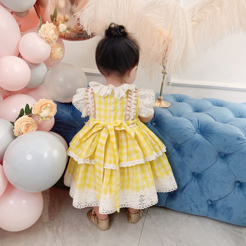 Pretty Yellow Easter Bunny Dress,2T to 6T.
