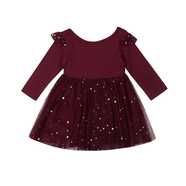 Full sleeves sequined stars tutu, Black/Red Wine,12M to 5T.