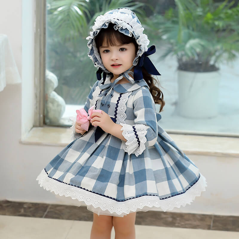 Vintage Plaid Dress With Hat,12M to 7T.