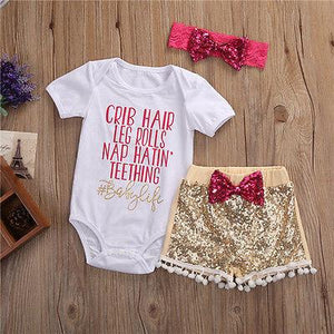 Baby Girl Bodysuit & Sequined Pants & Headhand - Dream Town Store