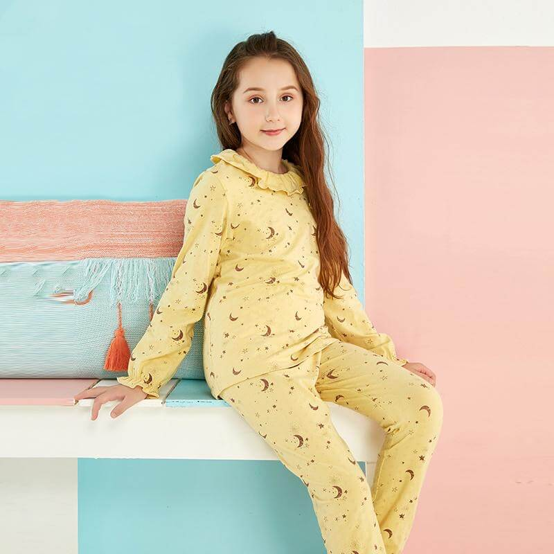 Night Moon Printed PJs,Yellow/Pink,3T to 10T.